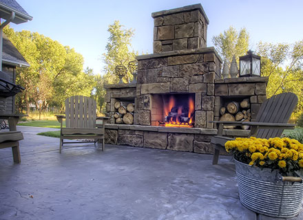 backyard fire place stone